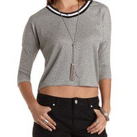 Med Gray Combo Striped Neck High-Low Marled Top by Charlotte Russe