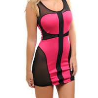 Mesh Bodycon Two Toned Dress in Fuchsia & Black