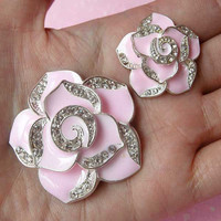 Flower Metal Cabochon (Pink, Silver w/ Clear Rhinestones) (27mm and 42mm) (2pcs) Cell Phone Deco Scrapbooking Decoration Decoden CAB118