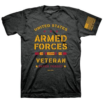 Kerusso United States Armed Forces Veteran Never Forget Christian Unisex Bright T Shirt