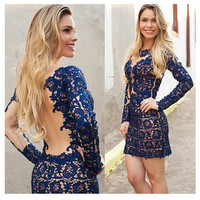 Women's Fashion Prom Dress Stylish Sexy Hollow Out See Through Mosaic Lace One Piece Dress [4919727044]