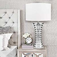 """Catalina Lighting 20893-000 Contemporary Stripe Banded Glass Table Lamp with Plated Chrome Finish, Linen Shade and 3-Way Switch, 33.5"""", Chrome/Silver"""