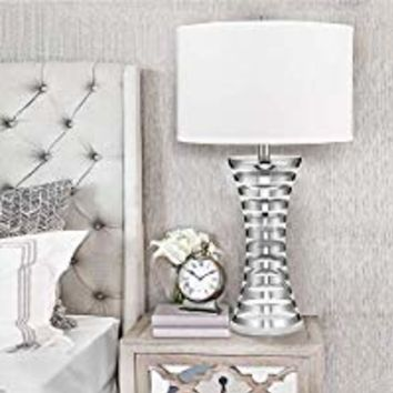 "Catalina Lighting 20893-000 Contemporary Stripe Banded Glass Table Lamp with Plated Chrome Finish, Linen Shade and 3-Way Switch, 33.5"", Chrome/Silver"