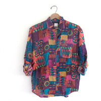 80s silk shirt. colorful silk blouse. graphic print silk top. women's size L