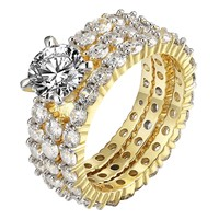 Yellow Gold On 925 Silver 3pc Solitaire CZ Engagement Womans Wedding Bridal Ring