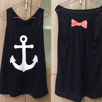 Imvation Women Girls Sleeveless Halter Backless Low O Neck Anchor Print T Shirt ...