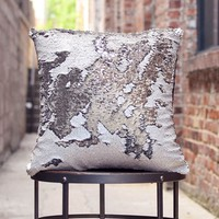 Rice White & Silver Sequin Mermaid Pillow | COVER ONLY (Inserts Sold Separately)