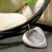Silver Fingerprint Jewelry, Personalized Guitar Pick Pendant, Custom Silver Plectrum Bootlace Necklace, His or Her Musician Jewelry,
