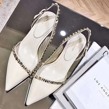 Valentino Fashion Women Pointed Rivet High Heels Shoes White