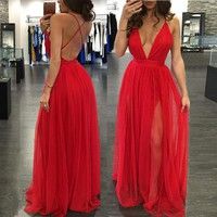 2016 Summer Women Casual Sexy Sleeveless Chiffon  Evening Party Dress Female Beach Backless Long Maxi Dress Red vestido de festa