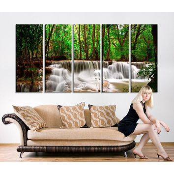 Oversized Canvas Art Prints Waterfalls in Forest Canvas Prints Waterfalls Large Art Canvas