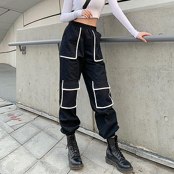 Women Fashion Irregular Multicolor High Waist Cargo Pants Leisure Pants Trousers