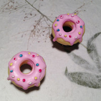 """Delicious Pink Donut Tunnels Gauged Earrings 10mm (3/8"""")(00g) 12mm (1/2"""") 14mm (9/16"""") 16mm (5/8"""") (BSD119)"""