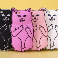 3D Soft Silicon Cat Case For Iphone 6 6s / iphone 6 6s Plus / 5 5s Cartoon Animals Rubber Middle Finger Capa Cover For iphone6
