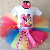 Baby Minnie Mouse Bright Rainbow Cupcake -Girls Birthday Tutu Outfit