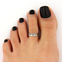toe ring sterling silver toe ring  Wave design adjustable toe ring (T-74) Also knuckle ring