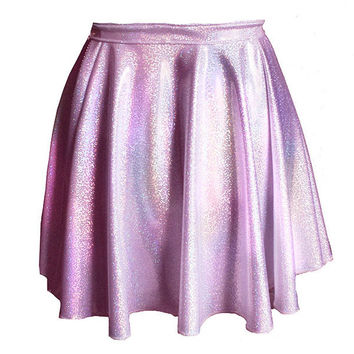 Pastel Pink Hologram Circle Skirt