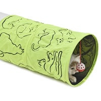 Pet Tunnel Cat Printed Green Lovely Crinkly Kitten Tunnel Toy With Ball