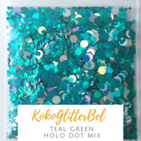 Holographic Glitter Hex- Teal Green with Holo Dots