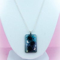 """Kawaii Pastel Goth Spiders, Moons, and Stars 18"""" Gradient Blue and Purple Resin Pendant Necklace"""