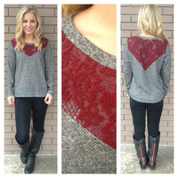 Burgundy Lace Grey Sweater Top