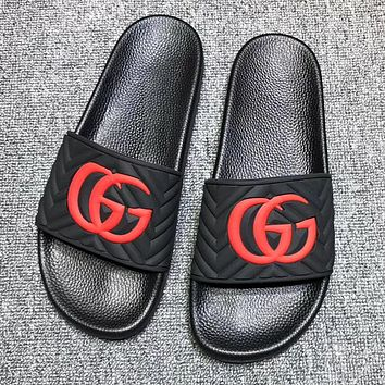 GUCCI New Fashion Letter Flip Flop Slippers Shoes Black
