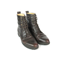 90s Lace Up Boots Brown Leather Ankle Boots Hiking Boots Womens Military Combat Boots Army Flat Boots Treaded Soles 90s Grunge Boots Size 8