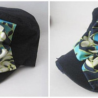 Cadet Navy Blue Distressed Military Hat with Multi Colored Petal Flower Choose Your Center Accent Women's Hats Cadets Accessories