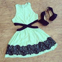 Green Floral Lace Patch Side Cut-Out Mini Dress