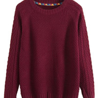 Men's Wine Red Textured Knit Sweater