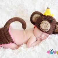Baby Monkey Hat & Diaper Cover with Tail Set - Messy Monkey, Newborn Photography, Photo Prop, Banana, Costume, Infant, Boy, Girl, Picture