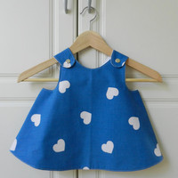 Baby Girl Pinafore Dress, Vintage fabric, Blue and White with Hearts, 12 months