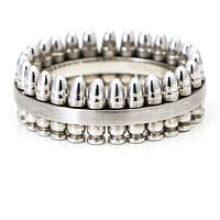 Men's Bullet Band Ring in Titanium and Sterling Silver