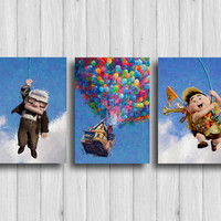 up print set of 3 up art carl and russell balloon house disney pixar up