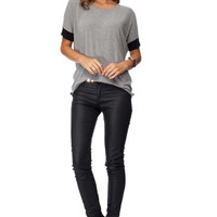 Gray And Black-Cuff Sleeve Cotton Loose Tee