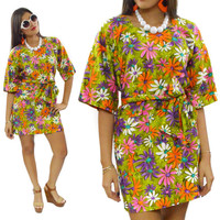 Vintage 60s Marjon of California Floral Casual Summer Picnic Dress
