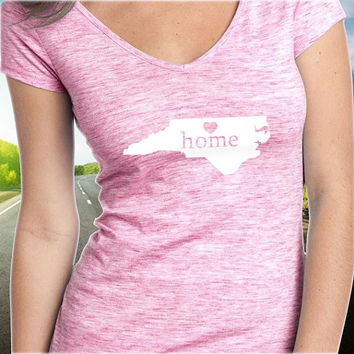 North Carolina Home T-Shirt - V-Neck - State Pride - Home Tee - Clothing - Womens - Ladies
