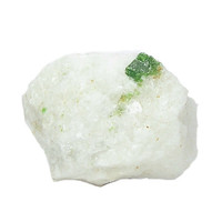 Green Pargasite Crystal in White Marble Rock Matrix Mineral Specimen Himalaya Hunza Valley Emerald Geology Sample for a gemstone collection