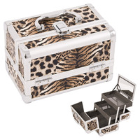 Justcase Brown Leopard Textured Printing 2-Tiers Extendable Trays Cosmetic Makeup Train Case With Mirror - M1001