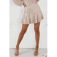 Eyes On The Prize Pink Champagne Sequin Skirt