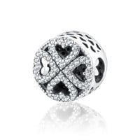Authentic 925 Sterling Silver Petal of Love Bead Charm With Clear Cubic Zirconia Pandora Charm Bracelet 2016 Autumn