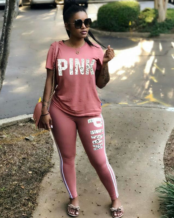 Image of Victoria's secret PINK Tight pants Short Sleeve Top Two-Piece
