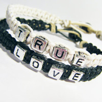 True Love Lovers Bracelets Black and White Hemp Set of 2 MADE TO ORDER-1 Week production time
