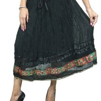 Woman Skirts Sari Border Work Black Embroidered Gypsy Boho Peasant Skirt