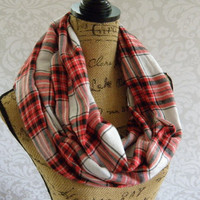 Ready To Ship Limited Edition Plaid Red Black White Scarf FLANNEL Winter Fall Accessories