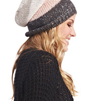 Stripes & Sequins Slouchy Beanie | Wet Seal