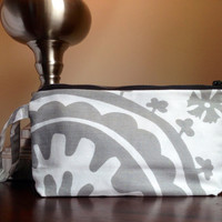 Suzani print makeup cosmetic bag zipper pouch by BlueBearDesigns