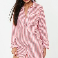 Missguided - Red Stripe Shirt Dress