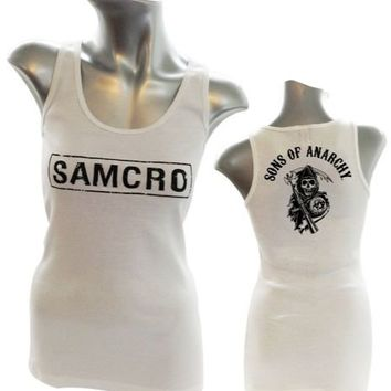 Sons Of Anarchy Samcro Juniors White Tank Top - Sons of Anarchy -   TV Store Online