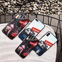 Fashion Astronaut Suprem Tempered Glass Phone Case For iPhone X 8 7 Plus 6 6S Plus Fashion Pattern Back Cover